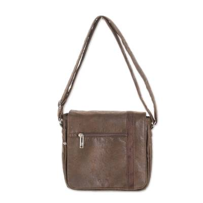 Faux Leather Messenger Bag in Chocolate from Costa Rica