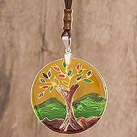 Glass pendant necklace, 'Tree of Life at Sunrise' - Tree-Themed Glass Pendant Necklace in Yellow from Costa Rica