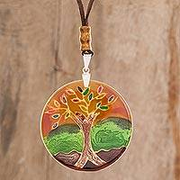 Glass pendant necklace, 'Tree of Life at Sunset' - Tree-Themed Glass Pendant Necklace in Orange from Costa Rica