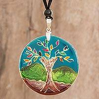 Glass pendant necklace, 'Tree of Life at Night' - Tree-Themed Glass Pendant Necklace in Blue from Costa Rica
