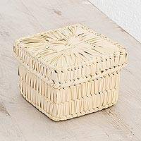 Palm leaf basket, 'Palm Textures' - Handcrafted Square Palm Leaf Basket from Guatemala