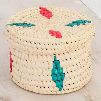 Palm leaf basket, 'Palm Tradition' - Round Colorful Palm Leaf Basket from Guatemala