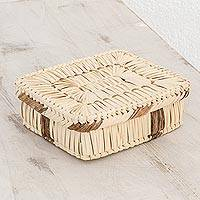 Palm leaf basket, 'Artisanal Palm' - Handcrafted Rectangular Palm Leaf Basket from Guatemala