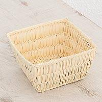 Palm leaf basket, 'Square Beauty' - Handwoven Square Palm Leaf Basket from Guatemala