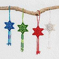 Glass beaded ornaments, 'Colorful Fleeting Stars' (set of 4) - Glass Beaded Star Ornaments in Assorted Colors (Set of 4)