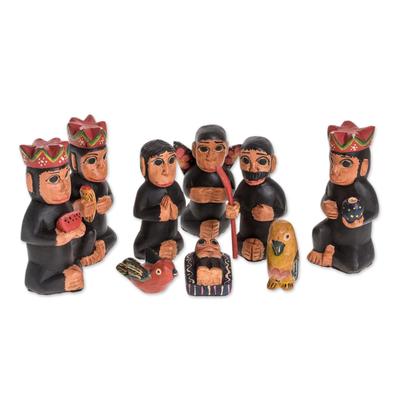 Wood nativity scene, 'Monkey Nativity' (9 piece) - Handcrafted Wood Monkey Nativity Scene (9 Piece)