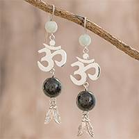 Jade dangle earrings, 'Mayan Om in Dark Green' - Jade Om Dangle Earrings in Dark Green from Guatemala