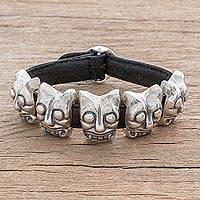 Leather accent sterling silver pendant bracelet, 'Iximche Jaguars' - Leather Accent Sterling Silver Jaguar Pendant Bracelet