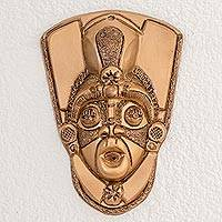 Resin mask, 'Taínos in Gold' - Handcrafted Gold Color Resin Fiberglass Decorative Wall Mask