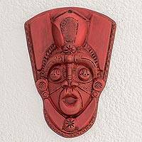 Resin mask, 'Taínos in Red' - Handcrafted Red Resin and Fiberglass Decorative Wall Mask