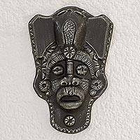 Resin mask, 'Honor the Ancients' - Handcrafted Black Resin and Fiberglass Decorative Wall Mask