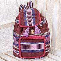 Cotton backpack, 'Cheery Traveler' - Burgundy and Lilac Striped Handwoven Cotton Backpack
