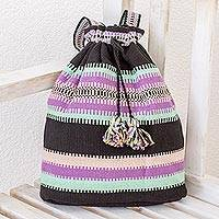 Cotton backpack, 'Peaceful Traveler' - Cinch Closure Multi-Color Striped Handwoven Cotton Backpack