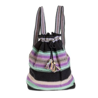 Cinch Closure Multi-Color Striped Handwoven Cotton Backpack