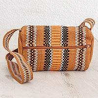 Cotton shoulder bag, 'On the Go' - Burnt Sienna Striped Handwoven Cotton Shoulder Bag