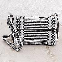Cotton shoulder bag, 'On the Move' - Black and Grey Striped Handwoven Cotton Shoulder Bag