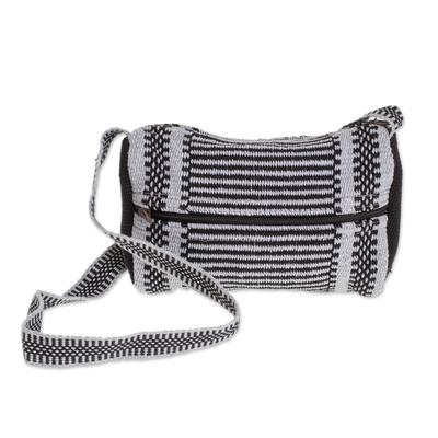 Black and Grey Striped Handwoven Cotton Shoulder Bag
