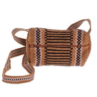 Burnt Sienna and Black Striped Handwoven Cotton Shoulder Bag