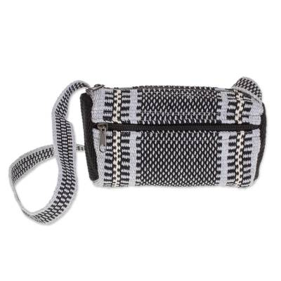 Black and Grey Multi-Striped Handwoven Cotton Shoulder Bag