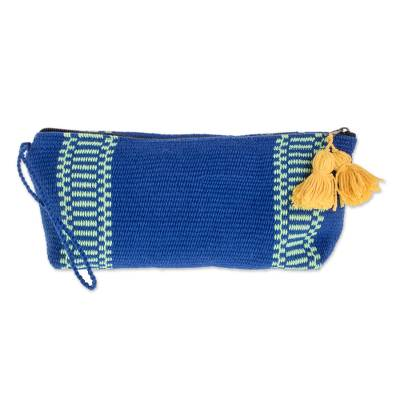 Blue and Mint Green Striped Handwoven Cotton Cosmetics Case