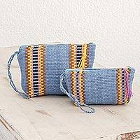 Cotton cosmetics cases, 'Surf and Sun' (pair) - Blue Colorful Stripe Handwoven Cotton Cosmetics Cases (Pair)