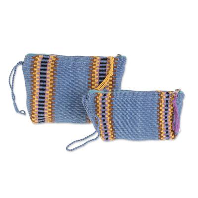 Blue Colorful Stripe Handwoven Cotton Cosmetics Cases (Pair)