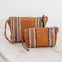 Cotton cosmetics cases, 'Dunes at Dawn' (pair) - Burnt Sienna Striped Handwoven Cotton Cosmetics Cases (Pair)
