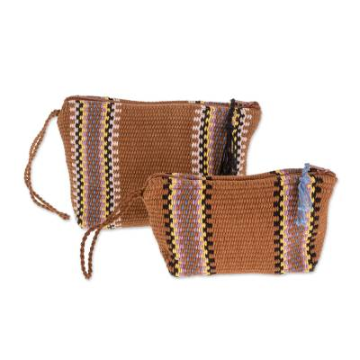 Burnt Sienna Striped Handwoven Cotton Cosmetics Cases (Pair)