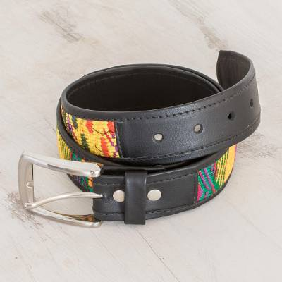 Cotton accented leather belt, 'Magic Tradition' - Colorful Cotton Accent Leather Belt Crafted in Guatemala