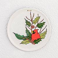 Ceramic decorative plate, 'Christmas Cardinal' - Hand-Painted Christmas-Themed Ceramic Decorative Plate