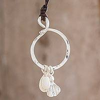 Fine silver pendant necklace, 'Ancestral Guardian' - Cultured Pearl and Fine Silver Pendant Necklace