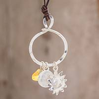 Citrine pendant necklace, 'Sunlight Guardian' - Citrine and Fine Silver Sun Pendant Necklace from Guatemala