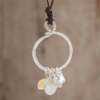 Citrine pendant necklace, 'Friendly Guardian' - Citrine and Fine Silver Dog Pendant Necklace from Guatemala