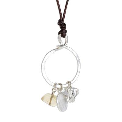 Citrine and Fine Silver Dog Pendant Necklace from Guatemala