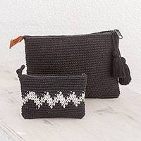 Cotton handbags, 'Zigzag Night' (pair) - Hand-Crocheted Cotton Handbags with White Zigzags (Pair)