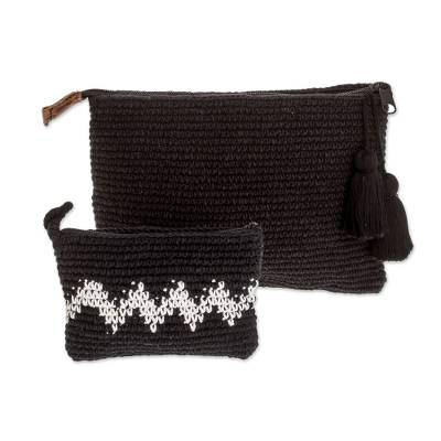 Hand-Crocheted Cotton Handbags with White Zigzags (Pair)