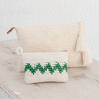 Cotton handbags, 'Zigzag Emerald' (pair) - Hand-Crocheted Cotton Handbags with Emerald Zigzags (Pair)