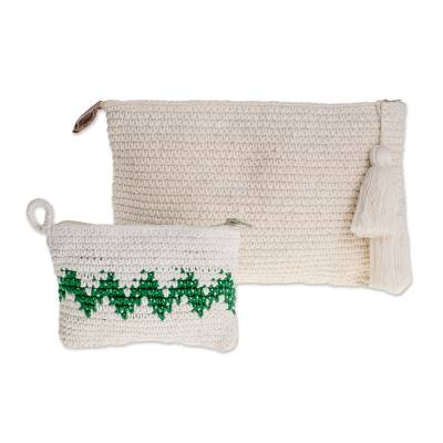 Hand-Crocheted Cotton Handbags with Emerald Zigzags (Pair)