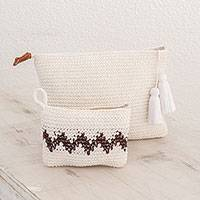 Cotton handbags, 'Zigzag Snow' (pair) - Hand-Crocheted Cotton Handbags with Black Zigzags (Pair)