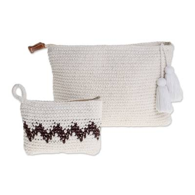 Hand-Crocheted Cotton Handbags with Black Zigzags (Pair)