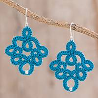 Hand-tatted sterling silver dangle earrings, 'Lovely Moments in Blue' - Hand-Tatted Dangle Earrings in Blue from Guatemala