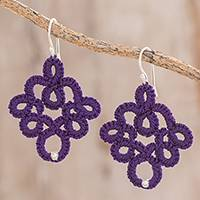 Hand-tatted dangle earrings, 'Lovely Moments in Purple' - Hand-Tatted Dangle Earrings in Purple from Guatemala