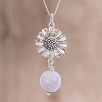 Jade pendant necklace, 'Lilac Gerbera' - Floral Lilac Jade Pendant Necklace from Guatemala