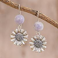 Jade dangle earrings, 'Lilac Gerbera' - Floral Lilac Jade Dangle Earrings from Guatemala