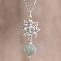 Jade pendant necklace, 'Mayan Flower' - Floral Jade Pendant Necklace from Guatemala