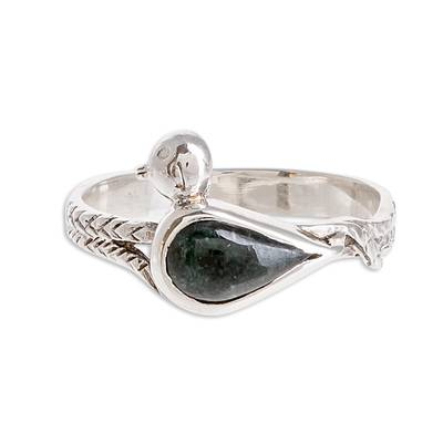 Bird-Themed Jade Cocktail Ring from Guatemala