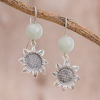 Jade dangle earrings, 'Mayan Flower' - Floral Jade Dangle Earrings from Guatemala
