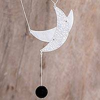 Jade pendant necklace, 'Two Crescents' - Black Jade Crescent Pendant Necklace from Guatemala
