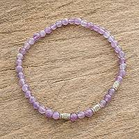 Amethyst beaded stretch bracelet, 'Purple Sweets' - Amethyst and Sterling Silver Beaded Stretch Bracelet