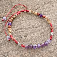 Multi-gemstone beaded bracelet, 'Delightful Harmony' - Adjustable Multi-Gemstone Beaded Bracelet from Guatemala